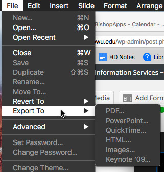 Keynote File menu showing Export to submenu expanded