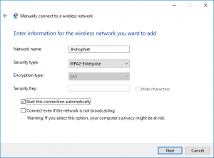 "The ""Manually connect to a wireless network"" window with BishopNet settings"