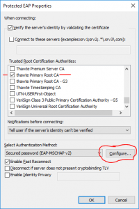 Image of Protected EAP Properties window with the Configure button circled