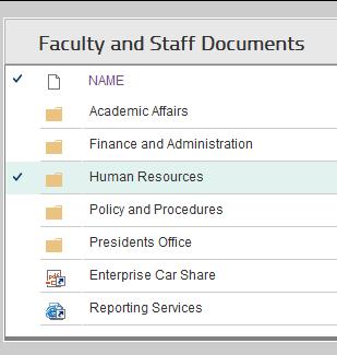myOWU Faculty and Staff Documents screenshot