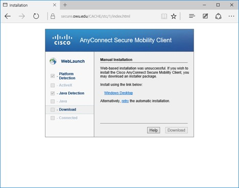 Cisco AnyConnect Mobility Client installation screen