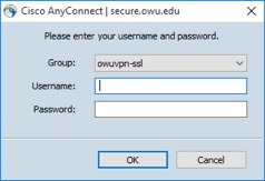 VPN credentials screen