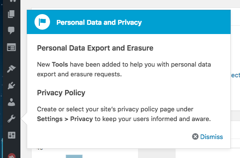 the creation of a Privacy Policy page, presented to signed-in site admins
